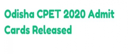 Odisha CPET 2020 Admit Cards Released