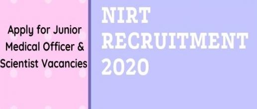 NIRT Recruitment 2020