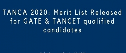 TANCA 2020: Merit List Released for GATE & TANCET qualified candidates
